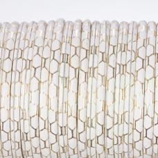 Rzemień klejony biały ze złoty wzorkiem 4mm