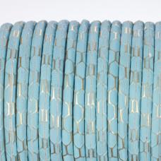 Rzemień klejony błękitny ze złotym wzorkiem 4mm