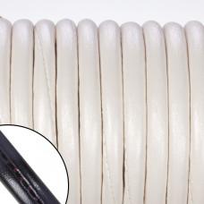 Rzemień szyty wewnętrznie perłowy 6mm