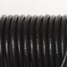 Rzemień naturalny lakierowany czarny 5mm