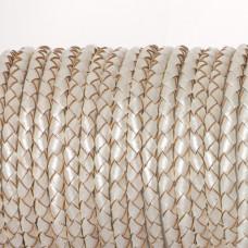 Rzemień naturalny pleciony metalizowany perłowy 4mm