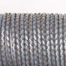 Rzemień naturalny pleciony metalizowany srebrny 4mm