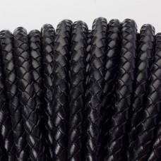 Rzemień naturalny pleciony lakierowany 5mm czarny