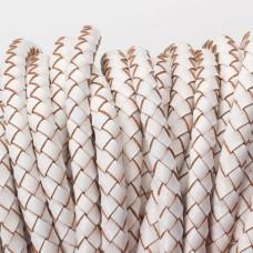 Rzemień naturalny pleciony lakierowany 5mm biały