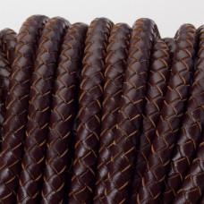 Rzemień naturalny pleciony lakierowany 6mm ciemny brązowy