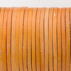 Rzemień naturalny płaski lakierowany 3x2mm jasny brąz