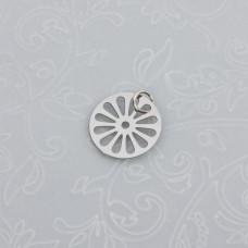 Zawieszka okrągła wycięty kwiatek stal chirurgiczna z kółeczkiem 12mm