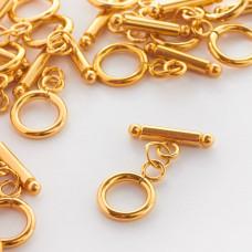 Zapięcie kółko patyczek z kulkami typu toggle ze stali chirurgicznej wkolorze złotym 12mm