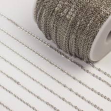 Łańcuszek ze stali chirurgicznej płaskie owale srebrny 2,5mm