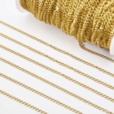 Łańcuch ze stali chirurgicznej simple pozłacany 3,5x2,5mm
