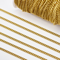 Łańcuch ze stali chirurgicznej simple pozłacany 5x4mm