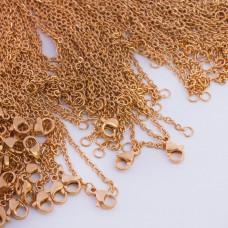 Łańcuszek ze stali chirurgicznej płaski owal złoty 50cm