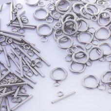 Zapięcie toggle kółko i patyczek ze stali chirurgicznej srebrny 12mm