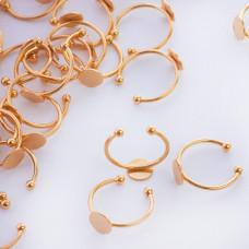 Baza pierścionek ze stali chirurgicznej talerzyk złoty 20mm