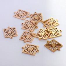 Łącznik ze stali chirurgicznej  kwadrat ażurowy złoty 15mm
