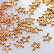 Zawieszka ze stali chirurgicznej dwie gwiazdki złoty 11mm