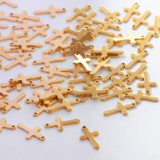 Zawieszka ze stali chirurgicznej krzyż złoty 16mm