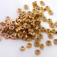 Zapięcie stoper z silikonem ze stali chirurgicznej walec złoty 8mm