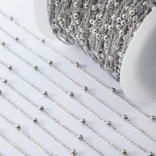 Łańcuch ze stali chirurgicznej z kuleczkami srebrny 0,6mm