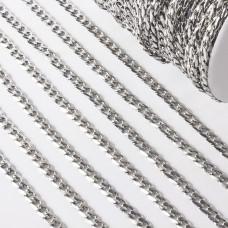 Łańcuch ze stali chirurgicznej  pancerka fasetowana 11x7,5mm