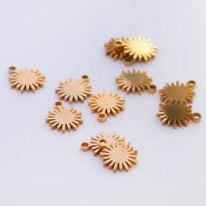 Mini zawieszka ze stali chirurgicznej słoneczko 5,5mm złota