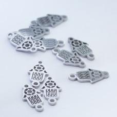 Mini łącznik ze stali chirurgicznej ręka Fatimy 10mm srebrny