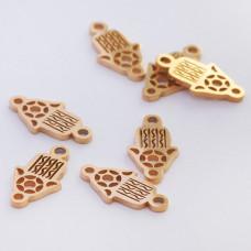 Mini łącznik ze stali chirurgicznej ręka Fatimy 10mm złoty