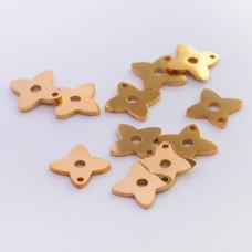 Mini zawieszka ze stali chirurgicznej koniczynka 7,4mm złota