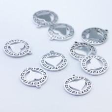 Mini zawieszka ze stali chirurgicznej serduszko w kółku 9,7mm srebrna