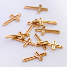 Mini zawieszka ze stali chirurgicznej krzyżyk wycięty 13mm złota