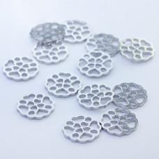 Mini zawieszka ze stali chirurgicznej kółko ażurowe 10mm srebrna