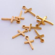 Mini zawieszka ze stali chirurgicznej krzyżyk 11mm złota