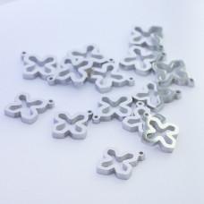 Mini zawieszka ze stali chirurgicznej krzyżyk wycięty 9mm srebrna