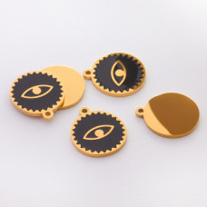 Zawieszka emaliowana kółko ze stali chirurgicznej oczko czarne 13mm
