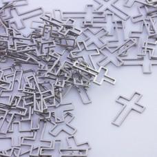 Baza geometryczna ze stali chirurgicznej krzyż 21x14mm srebrny
