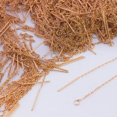 Baza do kolczyków z łańcuszka ze stali chirurgicznej złoty 10,5cm
