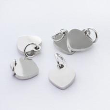 Zawieszka ze stali chirurgicznej mini serduszko kolor srebrny 7mm