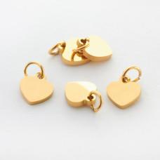 Zawieszka ze stali chirurgicznej mini serduszko kolor złoty 7mm