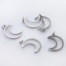 Zawieszka ze stali chirurgicznej księżyc wycięty kolor srebrny 16,5mm