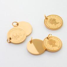 Zawieszka ze stali chirurgicznej moneta kolor złoty 12mm