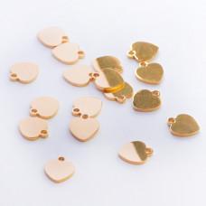 Zawieszka ze stali chirurgicznej serduszko złoty 9mm