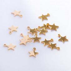 Zawieszka ze stali chirurgicznej gwiazdka złoty 9,5mm
