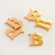 Zawieszka ze stali szlachetnej literka B złota 13,6mm