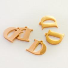 Zawieszka ze stali szlachetnej literka D złota 12,6mm