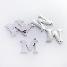 Zawieszka ze stali szlachetnej literka M srebrna 12,7mm