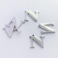 Zawieszka ze stali szlachetnej literka N srebrna 13mm