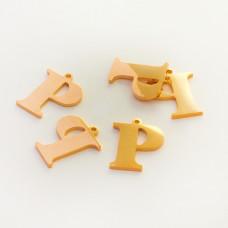 Zawieszka ze stali szlachetnej literka P złota 13,7mm
