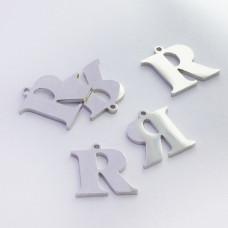 Zawieszka ze stali szlachetnej literka R srebrna 12,9mm