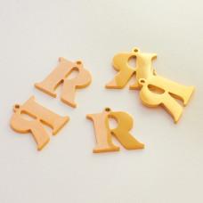 Zawieszka ze stali szlachetnej literka R złota 12,9mm
