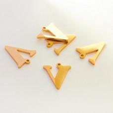 Zawieszka ze stali szlachetnej literka V złota 13,5mm